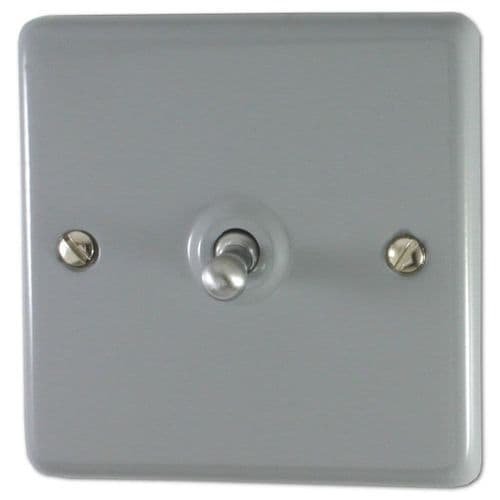 G&H CLG281 Standard Plate Light Grey 1 Gang 1 or 2 Way Toggle Light Switch